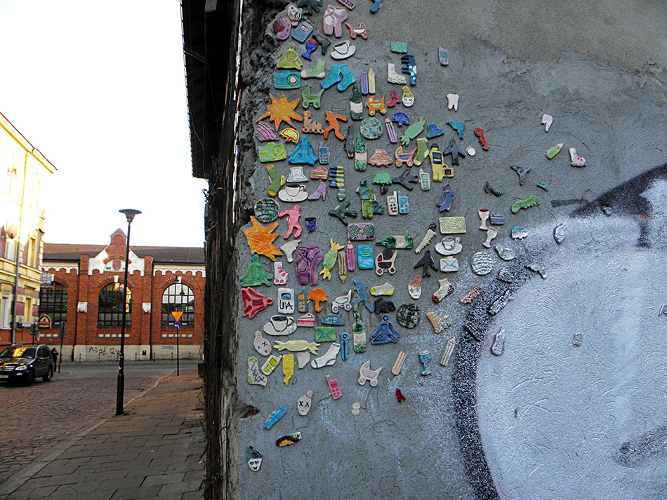 Street art dans le quartier de Kazimierz à Cracovie en Pologne