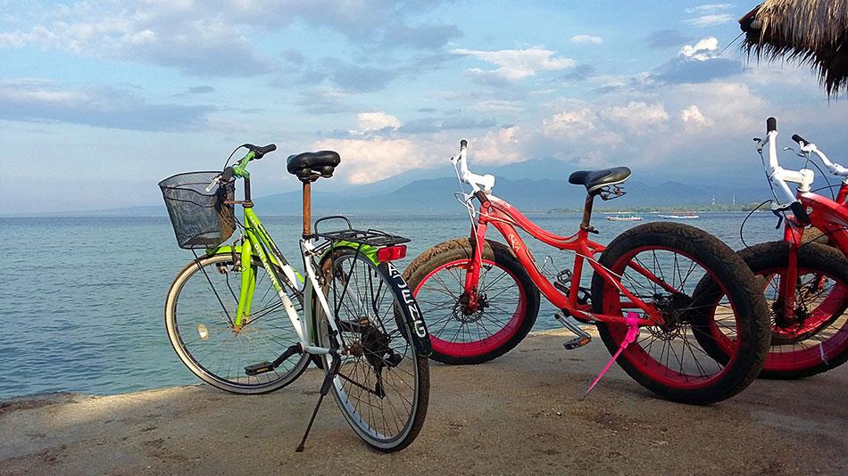 Il existe deux types de vélos de location sur les îles Gili en Indonésie.