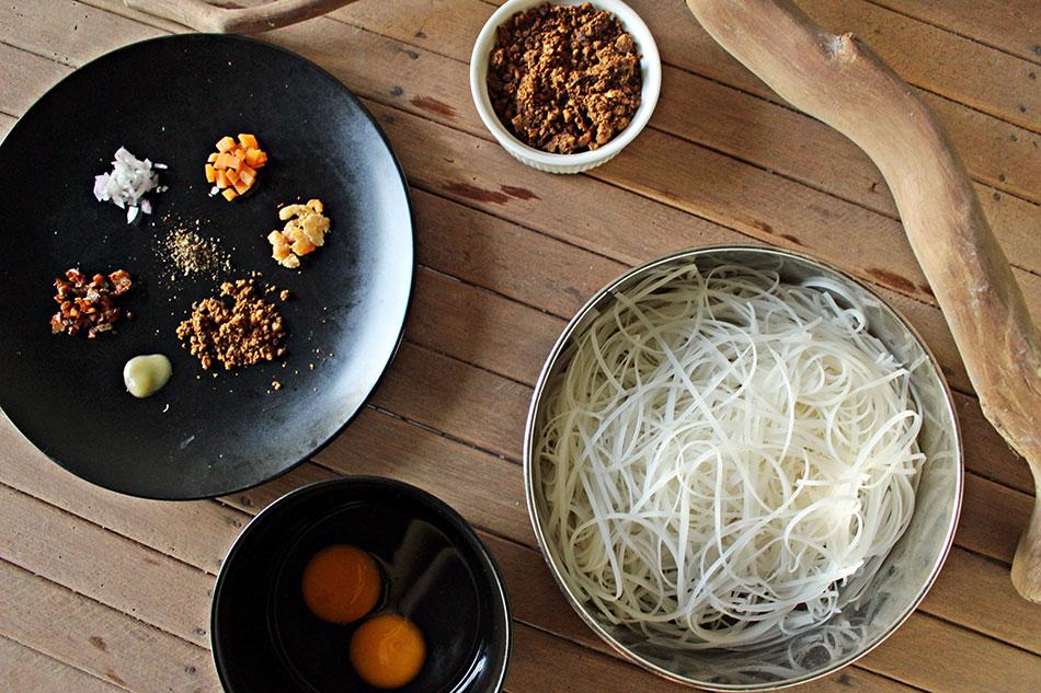 Ingredients pour la recette du pad thai végétarien
